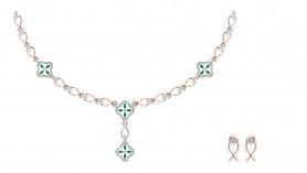 Amira Diamond & Emerald Chain Necklace