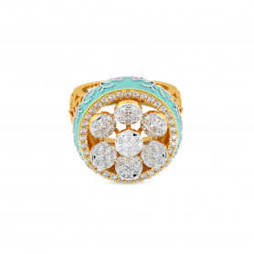Mughal Diamond & Enamel cocktail Ring - Love for Nature