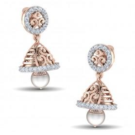 Diamond & Pearl filigree Jhumki