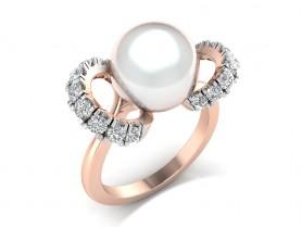 Bridesmaid Diamond & Pearl Ring