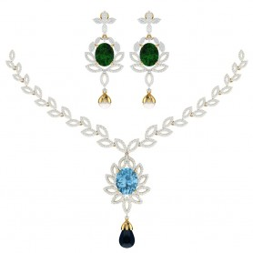 Topaz & Diamond Bridal Necklace
