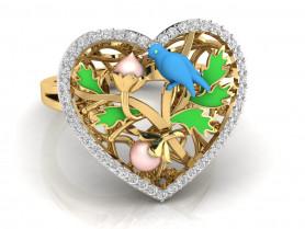 Nature Diamond  Enamel Ring