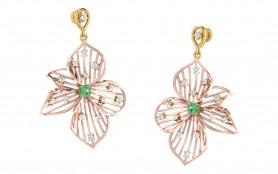Two tone Diamond & Emerald Drop Earring