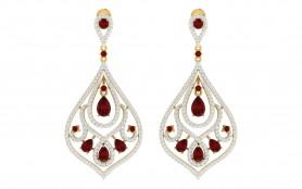 Ruby & Diamond Drop Earring