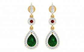 Diamond, Emerald & Ruby Drop Earring