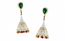 Fusion Tourmaline , Ruby & Diamond Earring