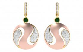 Two tone Diamond & Peridot Drop Earring