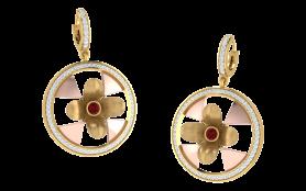 Two tone Floral Garnet & Diamond Earring