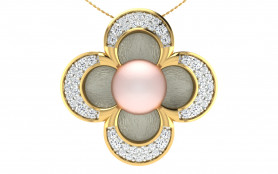 Two tone Diamond & Pearl Jewelry Set