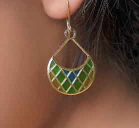Enamel  Gold Earring