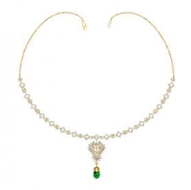 Diamond  & Tsavorite Garnet Drop  Necklace