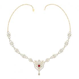 Diamond & Garnet Necklace & Earring