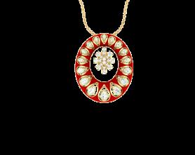 Ethnic Collection - Kundan with Enamel Pendant & Earring