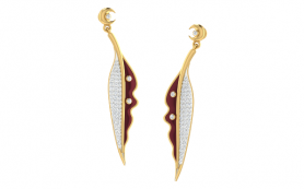 Enamel & Diamond Long Earring