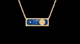 Lapis Lazuli & Diamond Bar Inlay Pendant Necklace