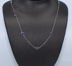 Sapphire Station Chain Necklace