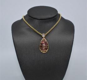 Ruby & Quartz Pendant Necklace