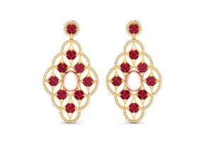 Pink Pearl, Ruby & Diamond Chandelier