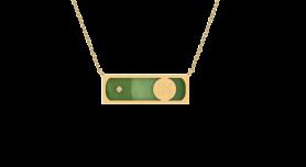 Jadeite  & Diamond Bar Inlay Pendant Necklace