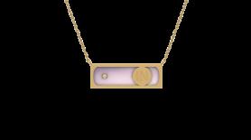 Rose Quartz & Diamond Inlay Pendant Necklace